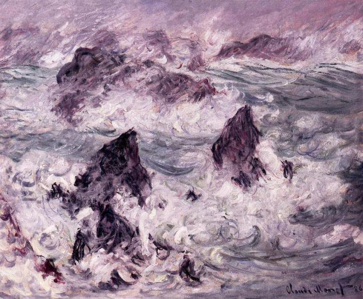 пейзаж Шторм :: Клод Моне, описание картины - Море в живописи ( морские пейзажи, seascapes ) фото