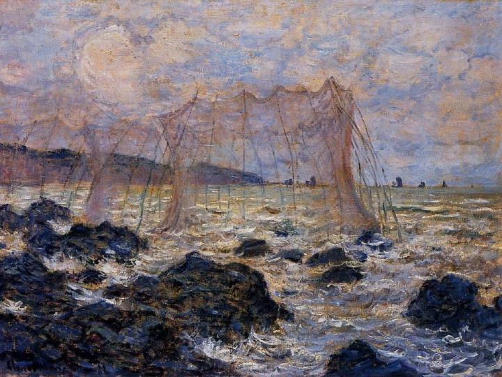 пейзажи Рыболовные сети в Пурвилле :: Клод Моне, описание картины - Море в живописи ( морские пейзажи, seascapes ) фото