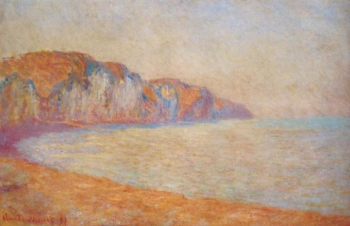 пейзаж Скала в Пурвилле утром :: Клод Моне, описание картины - Claude Monet фото
