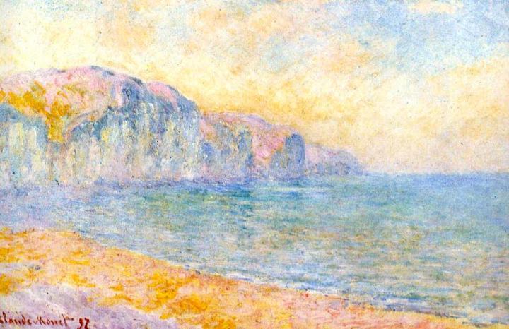 пейзаж Скала в Пурвилле, утро :: Клод Моне, описание картины - Claude Monet фото