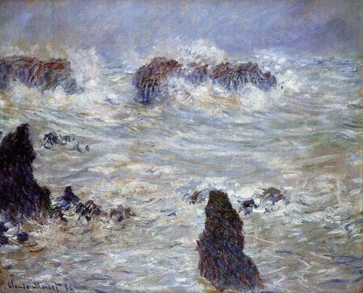 """пейзаж  """"Шторм и скалы"""" :: Клод Моне, описание картины - Claude Monet фото"""