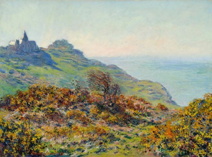 пейзаж Церковь в Варенживилле и ущелье Мутие :: Клод Моне, описание картины - Claude Monet фото