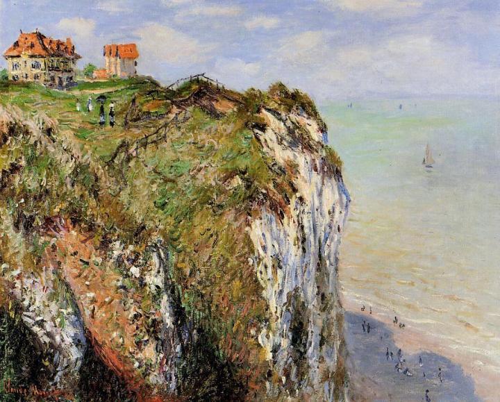 пейзаж Скала в Дьеппе (дома на скале) :: Клод Моне, описание картины - Claude Monet фото