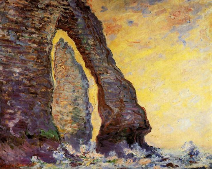 """пейзаж """"Камень-игла, вид сквозь Порт д'Аваль"""" :: Клод Моне, описание картины - Claude Monet фото"""