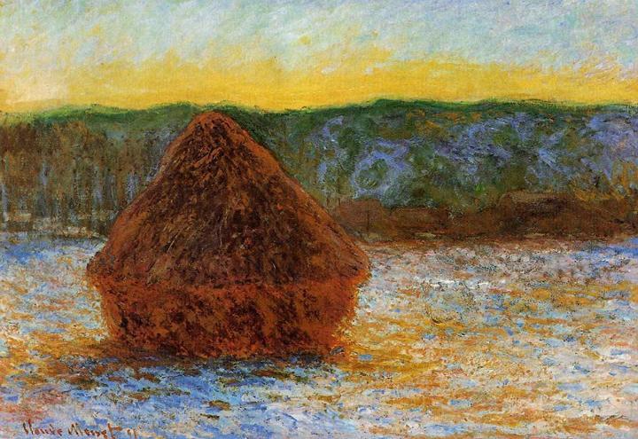 пейзаж Стог сена на закате, оттепель :: Клод Моне, описание картины - Claude Monet фото