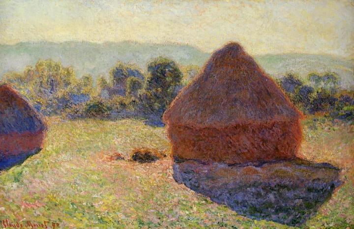 пейзаж Стога сена в солнечном свете, полдень :: Клод Моне, описание картины - Claude Monet фото