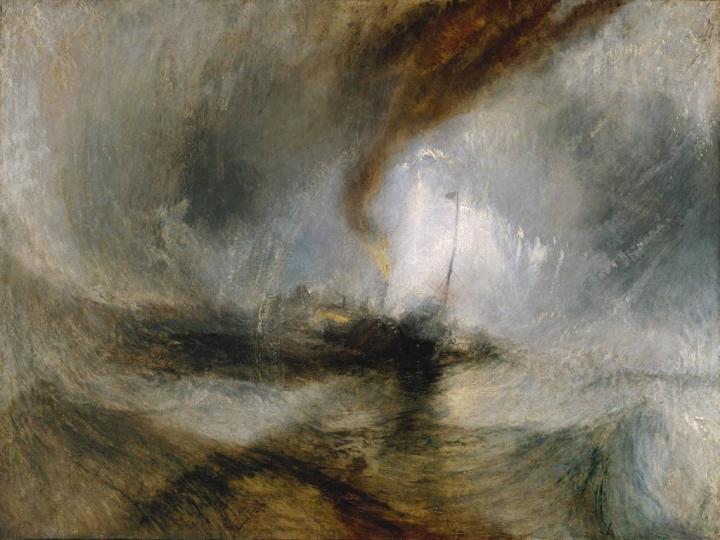 пейзаж Снежная буря — пароход выходит из гавани, подавая сигналы на мелководье и измеряя глубину лотом:: Уильям Тёрнер, описание - William Turner фото