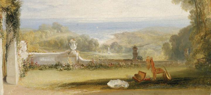 пейзаж Вид с террасы на виллу в Нитоне, остров Уайт, из эскизов леди :: Уильям Тёрнер - William Turner фото