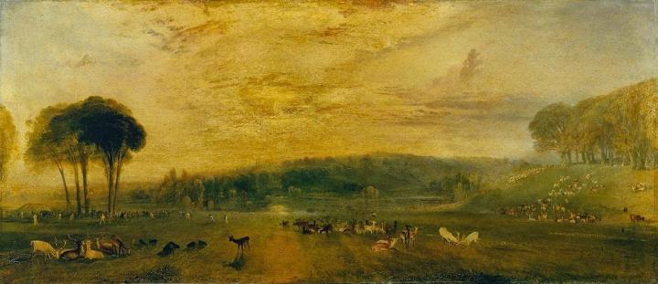 картина Озеро в Петворке, восход солнца, битва оленей :: Уильям Тёрнер - William Turner фото