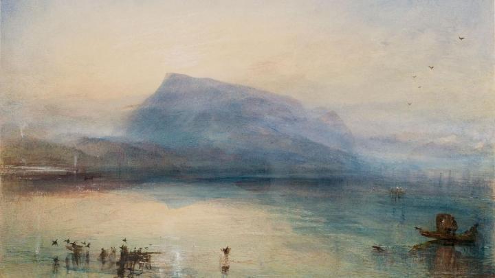 картина Голубые горы Риги и озеро Люцерна в лучах заходящего солнца :: Уильям Тёрнер - William Turner фото