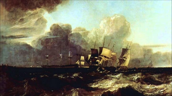 морской пейзаж Суда, держащиеся на якорях :: Уильям Тёрнер - William Turner фото
