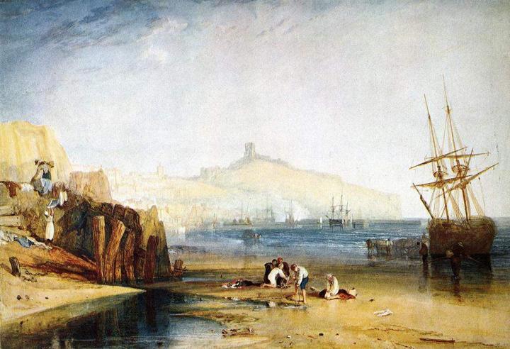 прибрежный пейзаж Город и замок Скарборо, утро, мальчики ловят крабов :: Уильям Тёрнер - William Turner фото