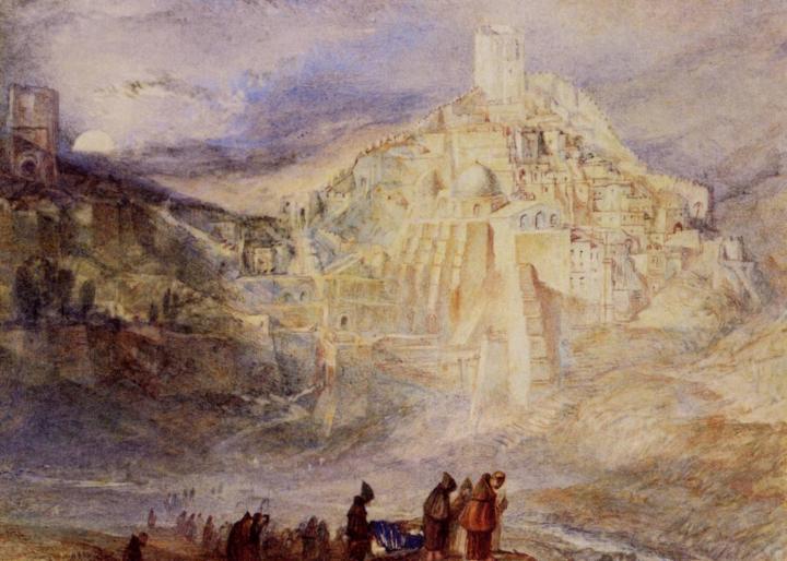 горный пейзаж с крепостью - Санта Сабес и ручей Кедрон :: Уильям Тёрнер - William Turner фото