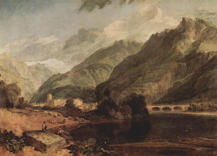 пейзаж с озером и горами - Савойский Бонвиль с видом на Монблан :: Уильям Тёрнер - William Turner фото