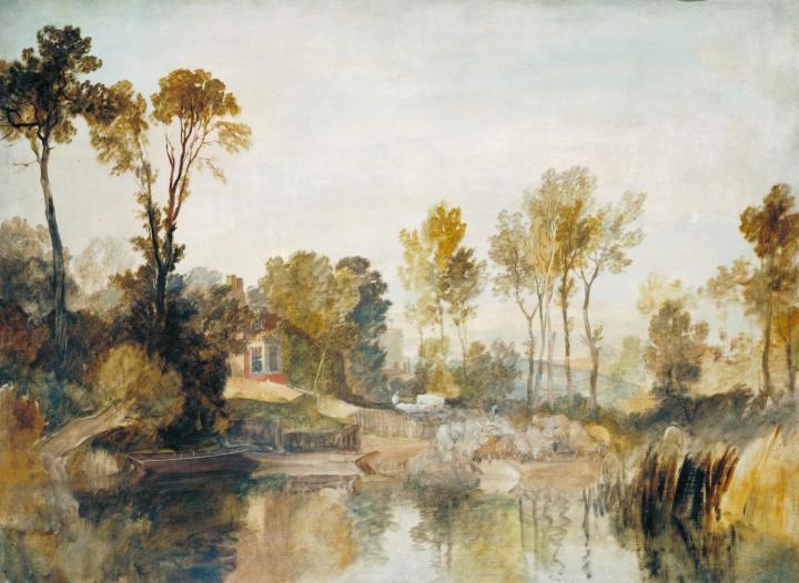 прибрежный пейзаж Дом на берегу реки с деревьями и овцами :: Уильям Тёрнер - William Turner фото