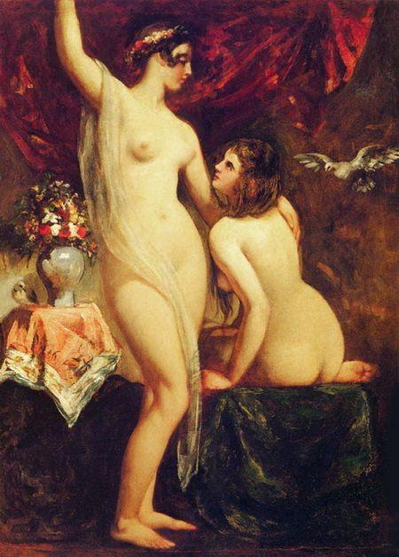 Две обнаженные женщины :: Этти Уильям, картина ню, эротика в живописи  - Картины ню, эротика в шедеврах живописи фото