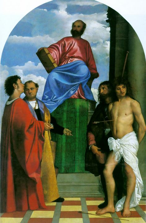 Святой Марк, Возведенный на престол со Святыми :: Тициан Вачелио, описание картины - Tiziano Veccellio фото