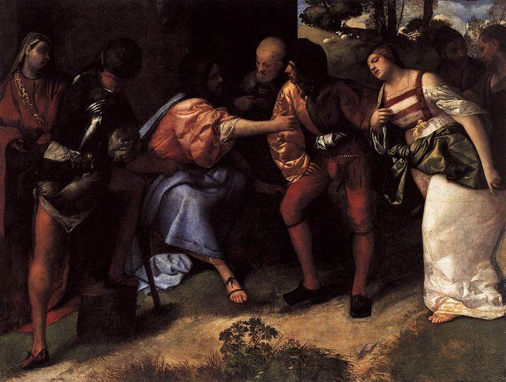 Христос и неверная супруга :: Тициан Вачелио, описание картины - Tiziano Veccellio (Тициан) фото