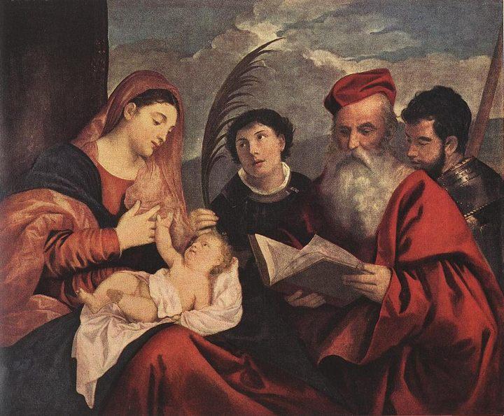 Мария с младенцем и святыми :: Тициан Вачелио, описание картины - Tiziano Veccellio (Тициан) фото