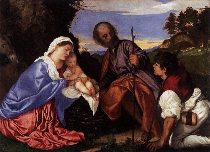 Святое семейство с пастухом :: Тициан Вачелио, описание картины - Tiziano Veccellio (Тициан) фото