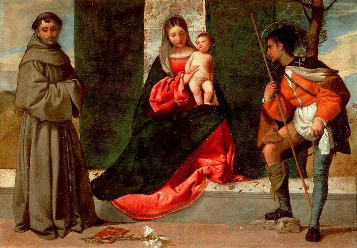 Мадонна и ребенок со святым Антонием из Падуи и св. Рохом :: Тициан Вачелио - Tiziano Veccellio фото