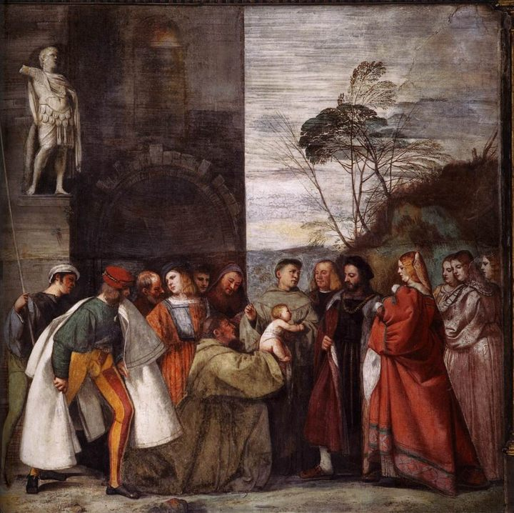 фреска Чудо новорожденного ребенка :: Тициан Вачелио - Tiziano Veccellio фото
