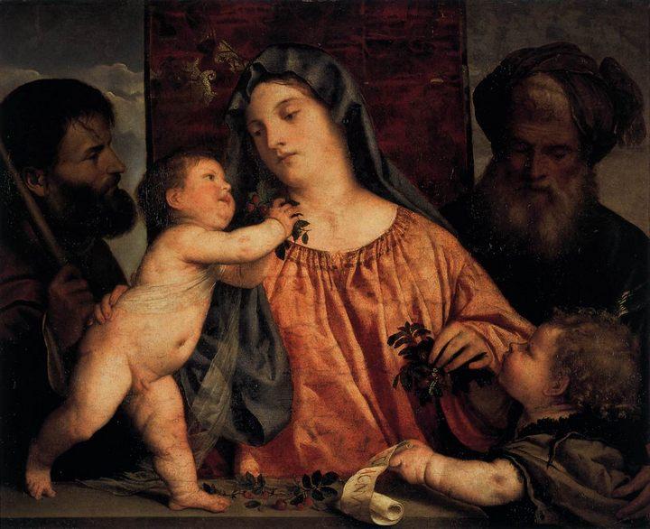 Мадонна с вишней и святым Иосифом (Вишнёвая Мадонна) :: Тициан Вачелио - Tiziano Veccellio (Тициан) фото