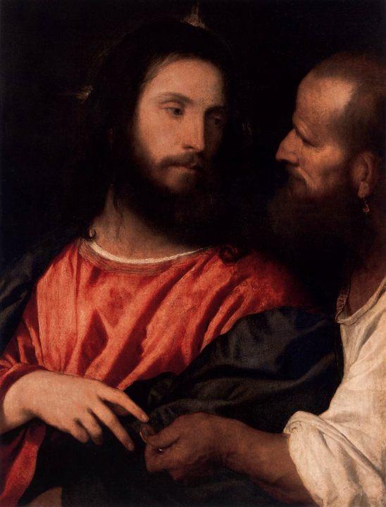картина Деньги на дань (Динарий кесаря) :: Тициан Вачелио - Tiziano Veccellio (Тициан) фото
