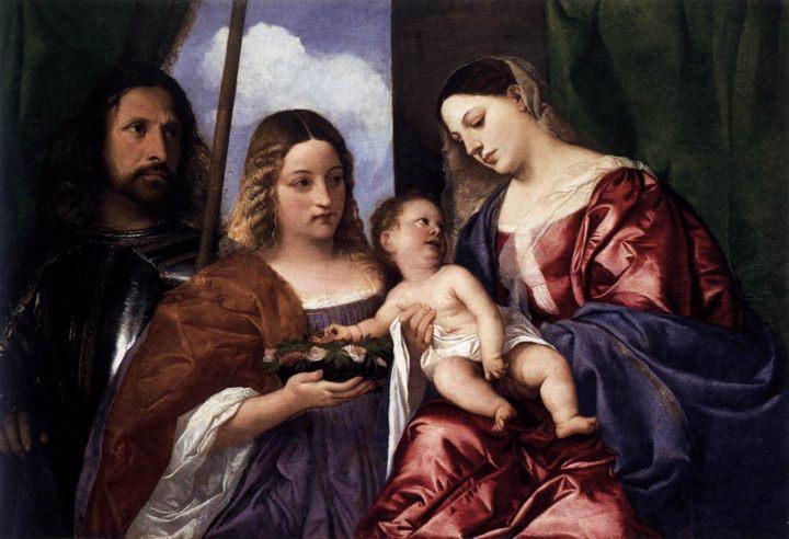 Мадонна и ребенок со святой Доротеей и Георгием :: Тициан Вачелио - Tiziano Veccellio фото