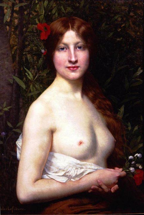 Полуобнажённая девушка :: Жюль Жозеф Лефевр, картина ню  - Картины ню, эротика в шедеврах живописи фото