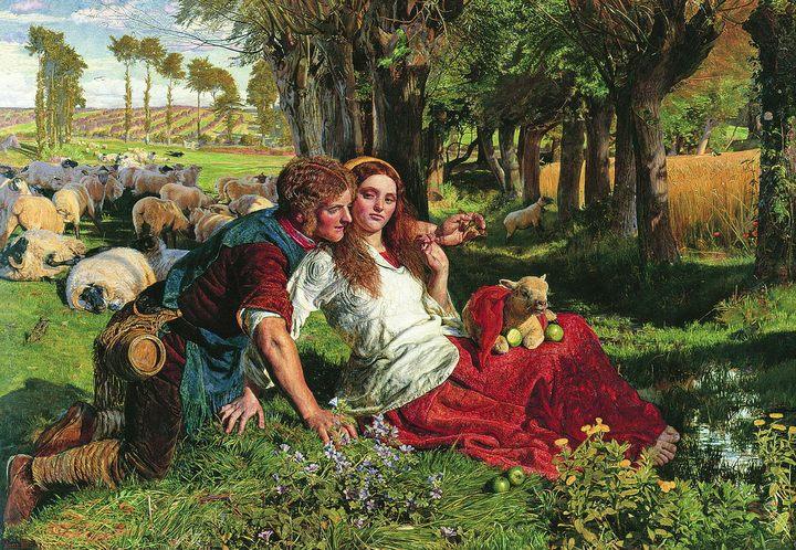 Наёмный пастух (The Hireling Shepherd), 1851 :: Уильям Холман Хант - Романтические сюжеты в живописи фото