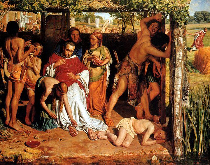Британская семья покровом христианского священника от преследований Дрю :: Уильям Холман Хант - Религиозные сюжеты в живописи фото