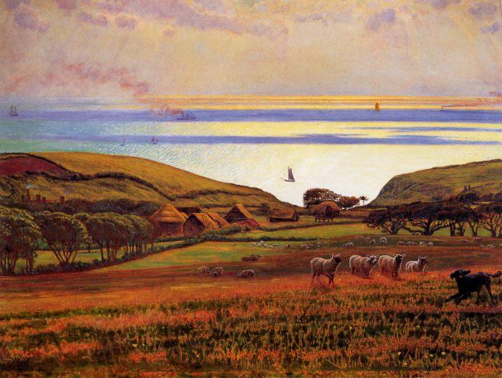 Солнечный свет холмов отражается в море :: Уильям Холман Хант - Море в живописи ( морские пейзажи, seascapes ) фото