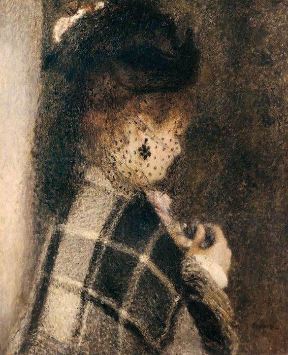 Молодая женщина в шляпой с вуалью :: Ренуар Пьер Огюст - Pierre-Auguste Renoir фото