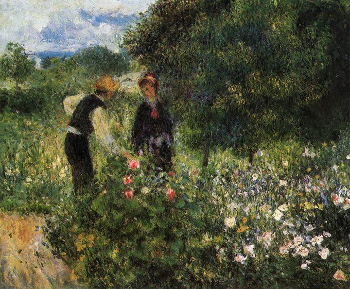 картина Собирая цветы :: Ренуар Пьер Огюст - Pierre-Auguste Renoir фото