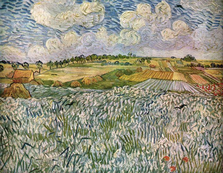 Пейзаж возле Овер: пшеничные поля :: Винсент Ван Гог, описание картины  - Van Gogh фото