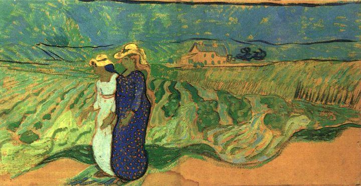 пейзаж Две женщины идущие в поле :: Винсент Ван Гог, описание картины - Van Gogh фото