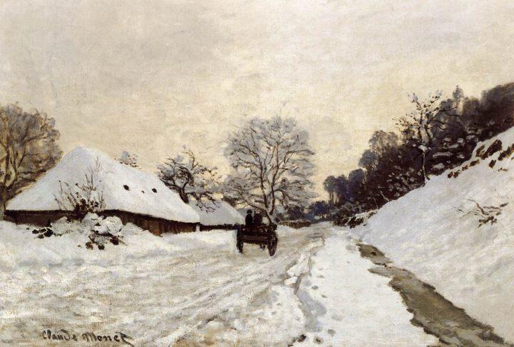 Повозка на снежной дороге в Онфлёр :: Клод Моне, описание картины - Claude Monet фото