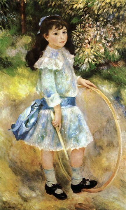 Девочка с обручем ::  Ренуар Пьер Огюст, описание картины - Pierre-Auguste Renoir фото