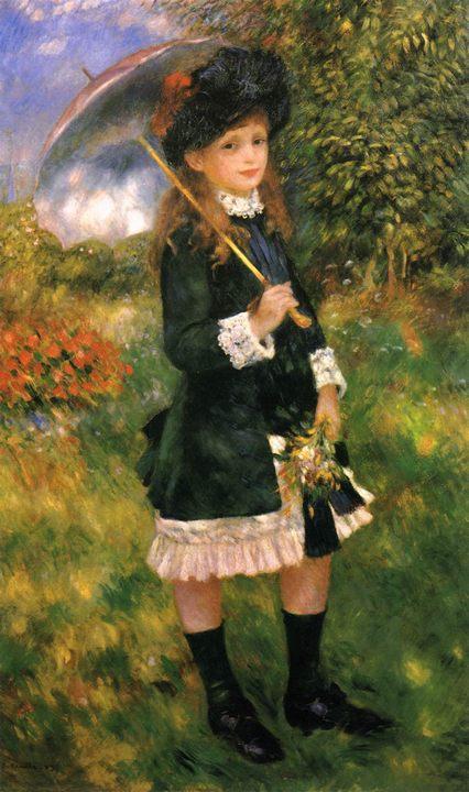 Девочка с зонтиком (Алин Нюнс) :: Ренуар Пьер Огюст, описание картины - Pierre-Auguste Renoir фото