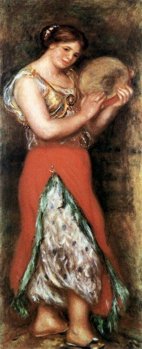 Танцовщица с тамбурином :: Ренуар Пьер Огюст, описание картины - Pierre-Auguste Renoir фото