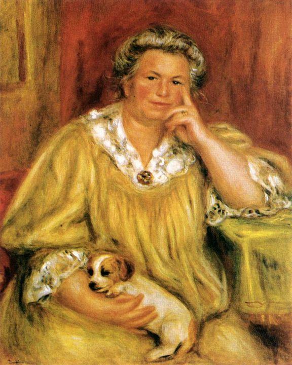 Мадам Ренуар с Бобом :: Ренуар Пьер Огюст, описание картины - Pierre-Auguste Renoir фото