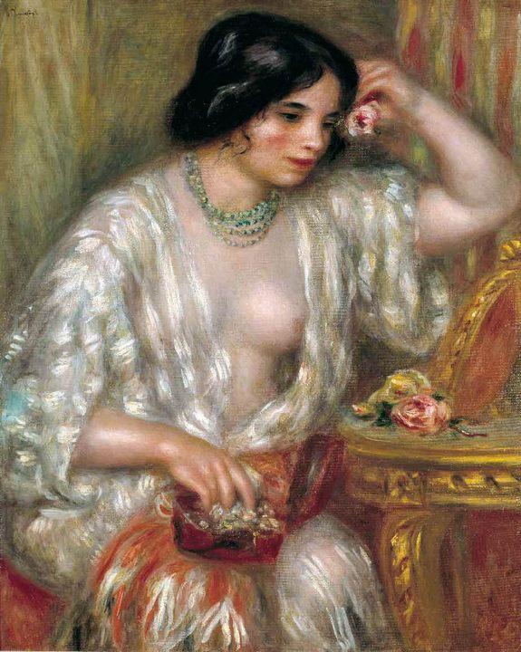 Габриэль с драгоценностями :: Ренуар Пьер Огюст, описание картины - Pierre-Auguste Renoir фото