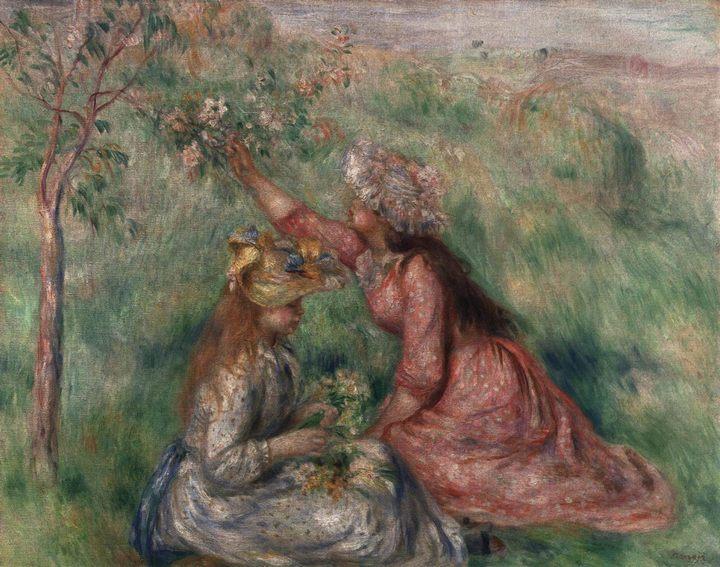 Девушки, срывающие цветы на лугу :: Ренуар Пьер Огюст - Pierre-Auguste Renoir фото