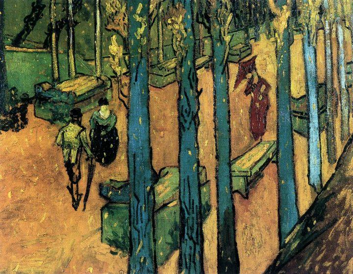 парковый пейзаж Алискамп, «Падающие осенние листья» :: Винсент Ван Гог, описание картины - Van Gogh фото