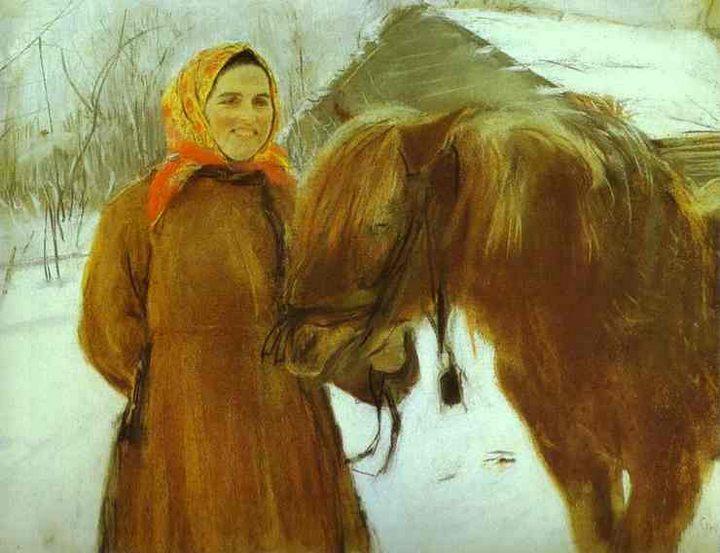 Баба с лошадью :: Серов Валентин Алексеевич, описание картины - Жанровые сцены фото