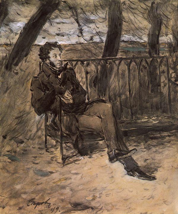 А. С. Пушкин :: Серов Валентин Алексеевич, описание картины - Портреты фото
