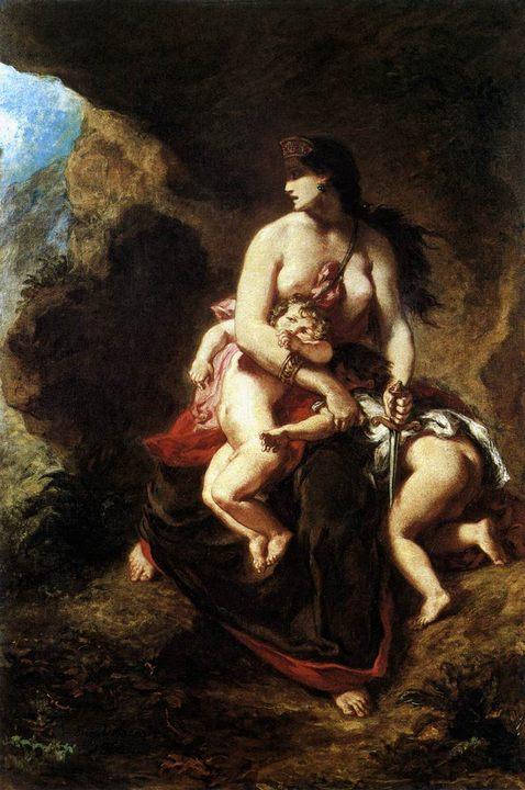 Медея собирается убить своих детей  :: Эжен Делакруа - Античная мифология фото