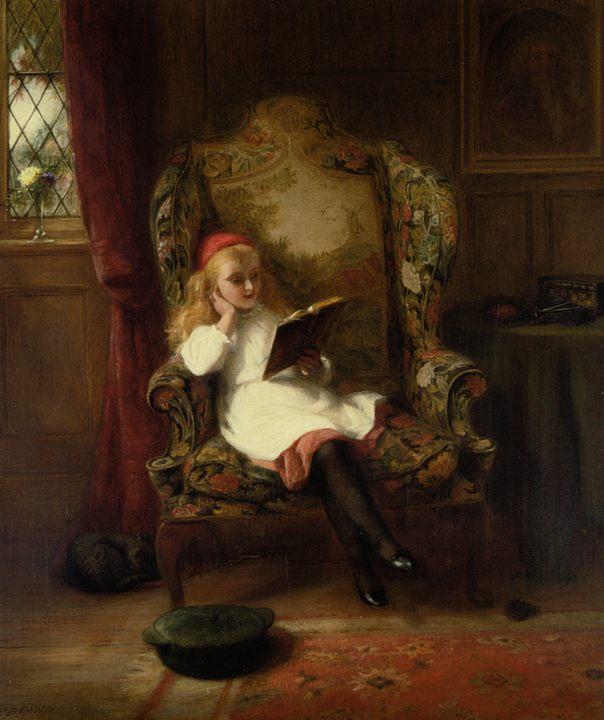 картина Приятное чтение (детский портрет) :: художник Джордж Бернард О'Нил - Портреты фото