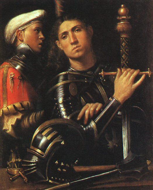 картина Воин со щитоносцем :: Джорджоне, художник - Портреты фото